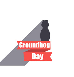 Groundhog day marmot in a flat style with shadow vector