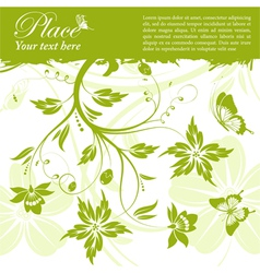 grunge floral frame butterfly vector image