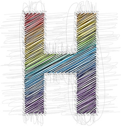 Hand draw font LETTER H vector