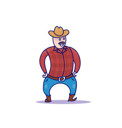 Hand drawn cowboy character isolated vector