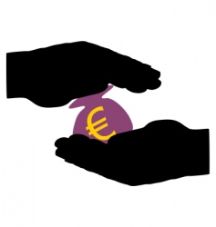 hands with moneybag vector image
