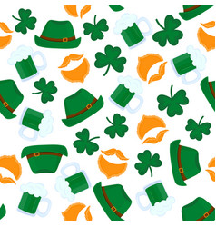 happy st patrick s day seamless pattern mug of vector image