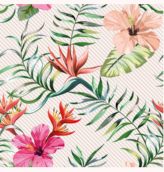 hibiscus strelizia leaves seamless pattern vector image