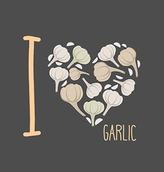 I love garlic Heart of earthy garlic vector image