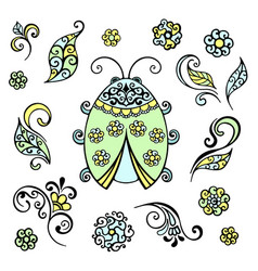 ladybug decorative lace a flower a leaf swirls vector image