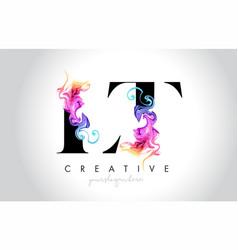Lt vibrant creative leter logo design with vector