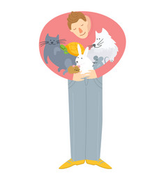 Man hugging domestic animals save animals during vector