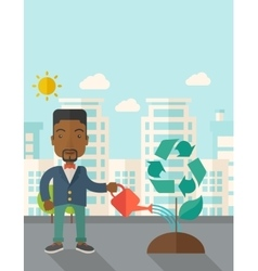 Man watering a recycling tree vector image