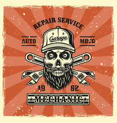 Mechanic skull in cap adjustable wrenches emblem vector