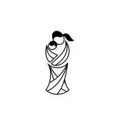 Motherhood logotype mother with baby vector
