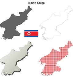 North Korea outline map set vector image