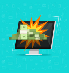 Online money win on computer vector
