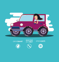 person driving for driver safely campaign set vector image