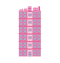 Pink building big residential facade windows door vector