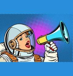 pop art background woman with megaphone vector image