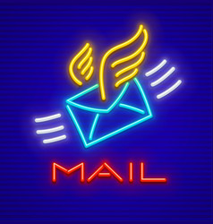 post icon neon envelope letter vector image