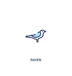 Raven concept 2 colored icon simple line element vector