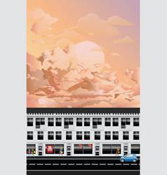 row fashion retail shops at dawn vector image