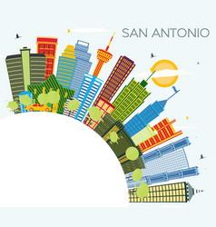 San antonio texas city skyline with color vector