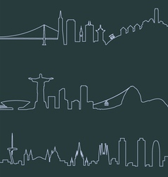 San Francisco Rio and Barcelona profile lines vector