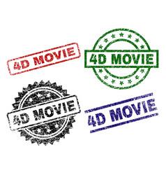 scratched textured 4d movie stamp seals vector image