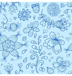 seamless pattern Nature stylized doodle elements vector image