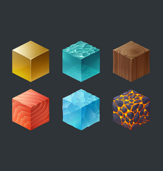 Set isometric cubes game texture 3d icons vector
