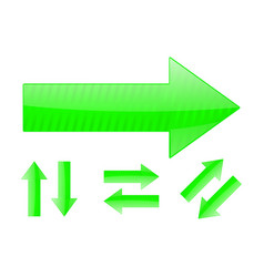 set of green arrows vector image