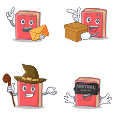 Set of red book character with envelope box witch vector