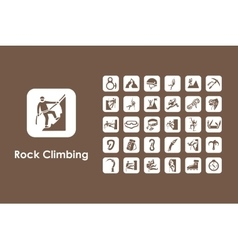 Set of rock climbing simple icons vector image vector image