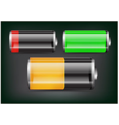 set of transparent battery green orange and red vector image