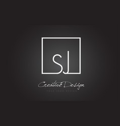 Sj square frame letter logo design with black and vector