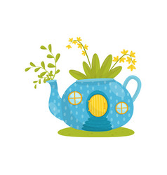 Small house made from blue teapot fairytale vector