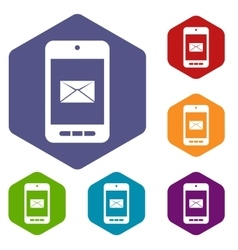 Smartphone with email icons set vector