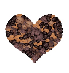 stack coffee beans forming in heart shape vector image