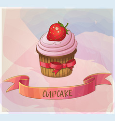 Strawberry cupcake dessert icon cartoon vector