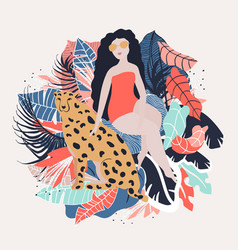 Tropical girl poster vector
