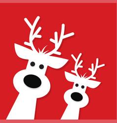 two white christmas reindeer vector image