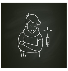 Vaccination and immunization chalk icon vector