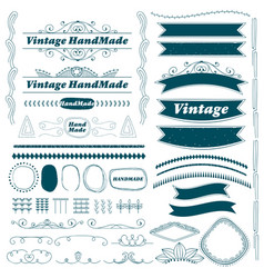 vintage hand made ribbon and divider lines set vector image