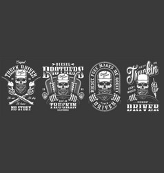 Vintage monochrome truck driver labels set vector