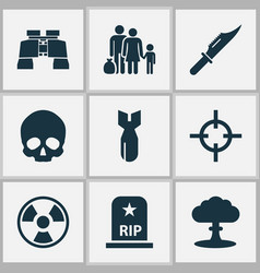 Warfare icons set collection of target fugitive vector