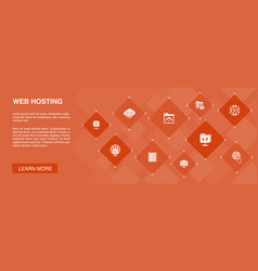Web hosting banner 10 icons conceptdomain name vector
