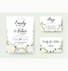 Wedding invitation floral invite rsvp cute card vector