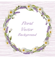 Wreath frame with flowers vector image