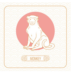 Year monkey chinese horoscope line art and vector