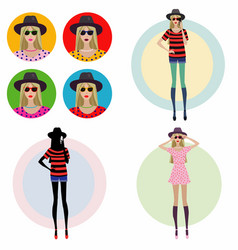 young girl in a fashion hat vector image