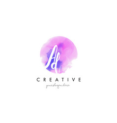 ad watercolor letter logo design with purple vector image vector image