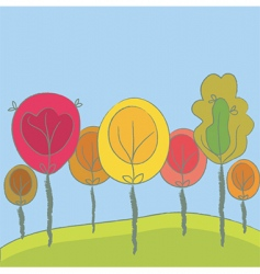 cute seasonal background with trees vector image vector image
