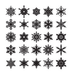 set of snowflakes silhouette isolated on white vector image vector image